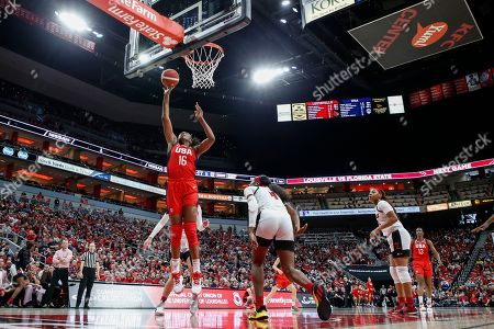 USA Women's National Team forward Nneka Ogwumike (16) shoots during an NCAA women's exhibition basketball game against Louisville, in Louisville, Ky