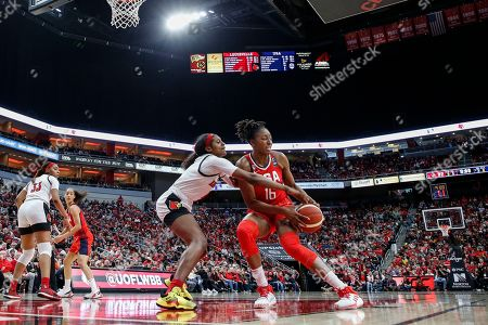USA Women's National Team forward Nneka Ogwumike (16) is pressured by Louisville guard Elizabeth Balogun (4) during an NCAA women's exhibition basketball game, in Louisville, Ky