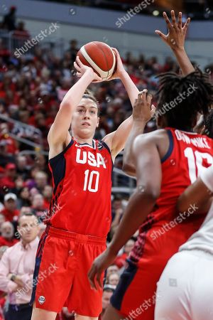 USA Women's National Team forward Breanna Stewart (10) shoots during an NCAA women's exhibition basketball game against Louisville, in Louisville, Ky