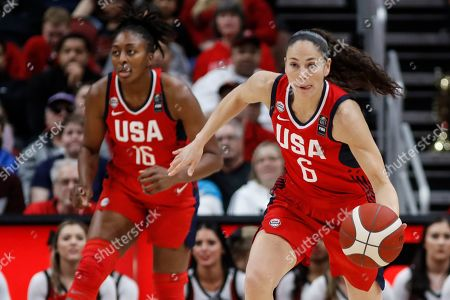USA Women's National Team guard Sue Bird (6) drives the ball up court as forward Nneka Ogwumike (16) trails during an NCAA women's exhibition basketball game against Louisville, in Louisville, Ky