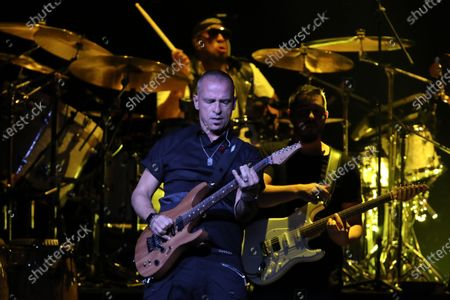 Eros Ramazzotti (C, front) performs at the Movistar Arena in Bogota, Colombia, 02 February 2020. This was the singer's first live performance in Colombia since 1994.