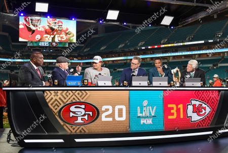 Stock Picture of Curt Menefee, Terry Bradshaw, Patrick Mahomes, Howie Long, Michael Strahan, Jimmy Johnson