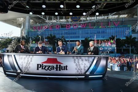 Stock Image of Curt Menefee, Terry Bradshaw, Howie Long, Michael Strahan, Jimmy Johnson