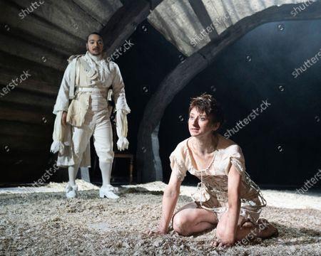 Danny Lee Wynter as Mephistopheles, Jodie McNee as Joanna Faustus