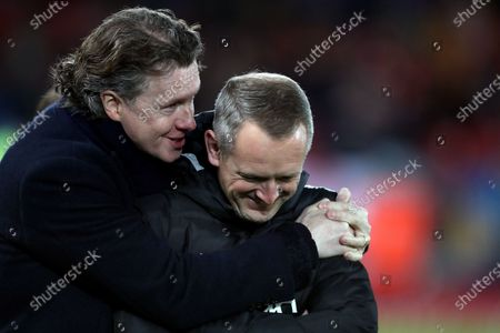 Steve McManaman with Liverpool Under 23 manager Neil Critchley