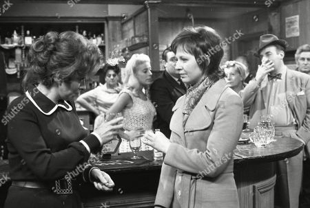 Elsie discovers Alan and Janet's relationship. Pat Phoenix (as Elsie Howard), Betty Driver (as Betty Turpin), Julie Goodyear (as Bet Lynch, Bryan Mosley (as Alf Roberts, Judith Barker (as Janet Reid), Jean Alexander (as Hilda Ogden) and Reginald Marsh (as Dave Smith)