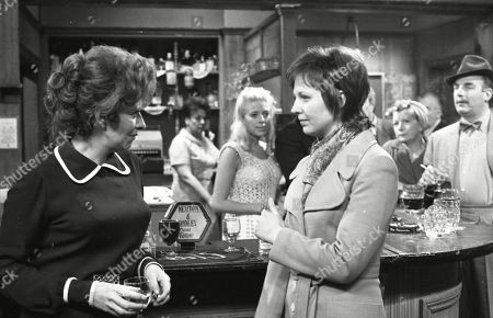 Elsie discovers Alan and Janet's relationship. Pat Phoenix (as Elsie Howard), Betty Driver (as Betty Turpin), Julie Goodyear (as Bet Lynch, Judith Barker (as Janet Reid), Jean Alexander (as Hilda Ogden) and Reginald Marsh (as Dave Smith)