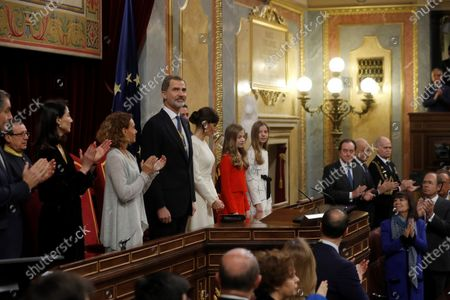 Speaker of Spanish Lower House Meritxel Batet (3L), and Speaker of the Senate Pilar Llop (2L), applaud as King Felipe VI of Spain chairs the State Opening of Parliament next to Queen Letizia (4L), Crown Princess Leonor (5L) and Infanta Sofia (6L) during the State Opening of Parliament at the Lower House in Madrid, Spain, 03 February 2020. The ceremony is chaired by the Spanish King.