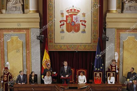 King Felipe of Spain (C-L) delivers a speech next to Speaker of the Lower House Meritxell Batet (4L), Speaker of the Senate Pilar Llop (3L), Queen Letizia (3R), Crown Princess Leonor (2R) and Infanta Sofia (2R)  during the State Opening of Parliament at the Lower House in Madrid, Spain, 03 February 2020. The ceremony is chaired by the Spanish King.