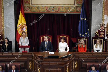 Speaker of the Lower House Meritxell Batet (2-L) speaks as (L-R) Speaker of the Senate Pilar Llop, King Felipe of Spain, Queen Letizia, Crown Princess Leonor, and Infanta Sofia listen during the State Opening of Parliament at the Lower House in Madrid, Spain, 03 February 2020. The ceremony is chaired by the Spanish King.
