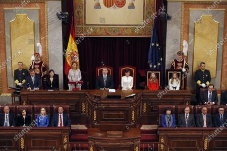 Stock Picture of Speaker of the Lower House Meritxell Batet (3-L) speaks as (2L-R) Speaker of the Senate Pilar Llop, King Felipe of Spain, Queen Letizia, Crown Princess Leonor, and Infanta Sofia listen during the State Opening of Parliament at the Lower House in Madrid, Spain, 03 February 2020. The ceremony is chaired by the Spanish King.