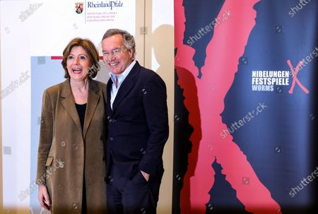 The Intendant of the Nibelungen festival, Nico Hofmann (R) and the Premier of Rhineland-Palatinate, Malu Dreyer (L) attend a press conference about the Nibelungen Festival program of 2020, in Berlin, Germany, 03 February 2020. The open air theatre festival takes place annually in the German city of Worms as part of the cultural summer of Rhineland-Palatinate state. This year's premiere will be 'Hildensaga. A Queen's Drama' by Ferndinand Schmalz.