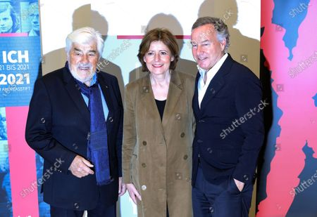 Stock Picture of German actor and co-initiator of the Nibelungen festival, Mario Adorf, the Premier of Rhineland-Palatinate, Malu Dreyer, and the Intendant of the Nibelungen festival, Nico Hofmann, attend a press conference about the Nibelungen Festival program of 2020, in Berlin, Germany, 03 February 2020. The open air theatre festival takes place annually in the German city of Worms as part of the cultural summer of Rhineland-Palatinate state. This year's premiere will be 'Hildensaga. A Queen's Drama' by Ferndinand Schmalz.