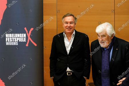 Stock Image of German actor and co-initiator of the Nibelungen festival, Mario Adorf (R) and the Intendant of the Nibelungen festival, Nico Hofmann, attend a press conference about the Nibelungen Festival program of 2020, in Berlin, Germany, 03 February 2020. The open air theatre festival takes place annually in the German city of Worms as part of the cultural summer of Rhineland-Palatinate state. This year's premiere will be 'Hildensaga. A Queen's Drama' by Ferndinand Schmalz.