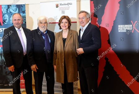 Stock Photo of The mayor of Worms, Adolf Kessel, German actor and co-initiator of the Nibelungen festival, Mario Adorf, the Premier of Rhineland-Palatinate, Malu Dreyer, and the Intendant of the Nibelungen festival, Nico Hofmann, attend a press conference about the Nibelungen Festival program of 2020, in Berlin, Germany, 03 February 2020. The open air theatre festival takes place annually in the German city of Worms as part of the cultural summer of Rhineland-Palatinate state. This year's premiere will be 'Hildensaga. A Queen's Drama' by Ferndinand Schmalz.
