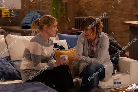 Ep 8729 Wednesday 12th February 2020 Vanessa Woodfield, as played by Michelle Hardwick, is compelled to tell Rhona Goskirk, as played by Zoe Henry, about Charity Dingle stealing Graham's money, but just as she's about to crack, Charity arrives and interrupts her from doing so.