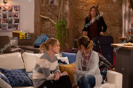Ep 8729 Wednesday 12th February 2020 Vanessa Woodfield, as played by Michelle Hardwick, is compelled to tell Rhona Goskirk, as played by Zoe Henry, about Charity Dingle, as played by Emma Atkins, stealing Graham's money, but just as she's about to crack, Charity arrives and interrupts her from doing so.