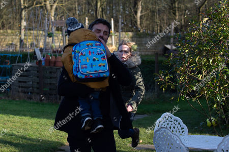 Ep 8730 Thursday 13th February 2020 - 1st Ep Vanessa Woodfield, as played by Michelle Hardwick, blindsided when Pierce, as played by Jonathan Wrather, sneaks up on her while she looks for one of Johnny's toys around back of the Woolie. We see he's stood in front of her holding Johnny, leaving us to fear the worst..