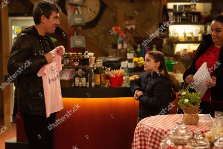 Stock Picture of Ep 8721 Monday 3rd February 2020 As Mandy Dingle, as played by Lisa Riley, steps up the 'Free Marlon' campaign April Windsor, as played by Amelia Flanagan, wants to visit Marlon in prison but Cain Dingle, as played by Jeff Hordley, has to lie that no kids are allowed.