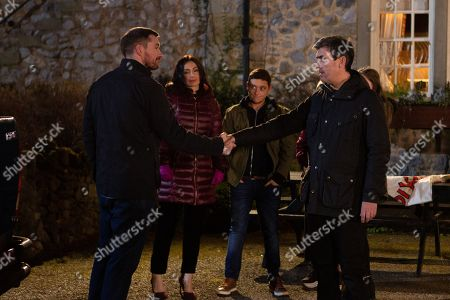 Ep 8727 Monday 10th February 2020 Pete Barton, as played by Anthony Quinlan, prepares to leave Emmerdale and is waved off. With Leyla Harding, as played by Rokhsaneh Ghawam-Shahidi, Matty Barton, as played by Ash Palmisciano, Cain Dingle, as played by Jeff Hordley.