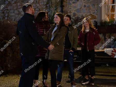Stock Picture of Ep 8727 Monday 10th February 2020 Pete Barton, as played by Anthony Quinlan, prepares to leave Emmerdale and is waved off. With Leyla Harding, as played by Rokhsaneh Ghawam-Shahidi, Matty Barton, as played by Ash Palmisciano, Liv Flaherty, as played by Isobel Steele, Sarah Sugden, as played by Katie Hill.