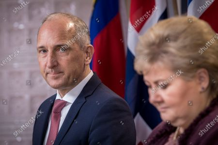 Stock Photo of Prime Minister of Lichtenstein Adrian Hasler (L) and Norway's Prime Minister Erna Solberg attend a joint press confernce in Oslo, Norway, 03 February 2020.