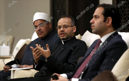 (L-R) Prof. Mohamed Hussein El-Mahrassawy, President of Al-Azhar University, Monsignor Youannis Lahzi Gaid, Personal Secretary of Pope Francis, Judge Mohamed Mahmoud Abdel Salam, Former Advisor to the Grand Imam of Al-Azhar attend during the special media roundtable discussion in Abu Dhabi, United Arab Emirates, 03 February 2020. A special roundtable discussion for Judge Mohamed Mahmoud Abdel Salam, Former Advisor to the Grand Imam of Al-Azhar,  Monsignor Youannis Lahzi Gaid, Personal Secretary of Pope Francis, Rabbi M. Bruce Lustig, Senior Rabbi at the Washington Hebrew Congregation, Prof. Mohamed Hussein El-Mahrassawy, President of Al-Azhar University and Irina Bokova, former Director-General of UNESCO organized by the Higher Committee of Human Fraternity on occasion the marking the one-year anniversary of the historic signing of the Document on Human Fraternity for World Peace and Living Together by His Holiness Pope Francis and His Eminence Dr. Ahmed El-Tayeb, the Grand Imam of Al-Azhar.