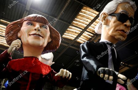 Stock Image of A view of carnival characters depicting late French fashion designer Sonia Rykiel (L) and late German designer Karl Lagerfeld during preparations for the 2020 Nice Carnival, in Nice, France, 03 February 2020. The annual Carnival of Nice will run from 15 to 29 February 2020, and the main theme will be 'King of Fashion'.