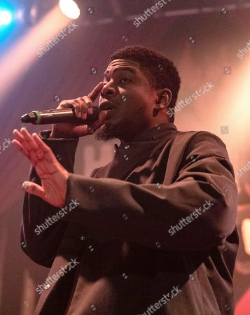 Editorial image of Mick Jenkins in concert during the Welcome to Mirrorland Tour at House of Blues, Chicago, Illinois, USA - 31 Jan 2020