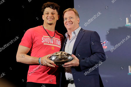 Patrick Mahomes, Roger Goodell. Kansas City Chiefs quarterback Patrick Mahomes (15) poses with NFL Commissioner Roger Goodell, before Mahomes speaks during a news conference, in Miami after winning the NFL Super Bowl 54 football game