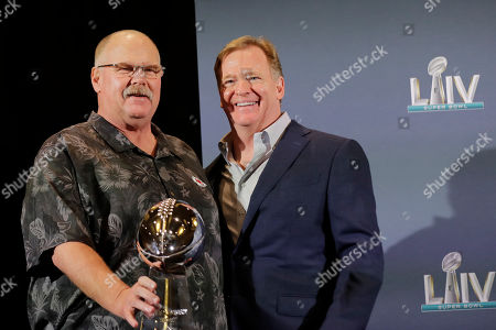 Andy Reid, Roger Goodell. Kansas City Chiefs head coach Andy Reid holds the Vince Lombardi Trophy and poses with NFL Commissioner Roger Goodell, during a news conference, in Miami after the Kansas City Chiefs win the NFL Super Bowl 54 football game