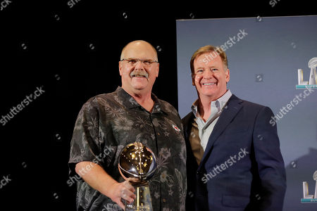 Andy Reid, Roger Goodell. Kansas City Chiefs head coach Andy Reid holds the Vince Lombardi Trophy and poses with NFL Commissioner Roger Goodell, speaks during a news conference, in Miami, the day after the Chiefs defeated the San Francisco 49ers in Super Bowl 54