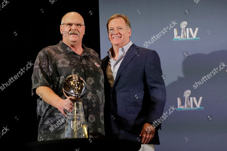 Andy Reid, Roger Goodell. Kansas City Chiefs head coach Andy Reid holds the Vince Lombardi Trophy and poses with Commissioner of the NFL Roger Goodell, speaks during a news conference, in Miami after the Kansas City Chiefs win the NFL Super Bowl 54 football game