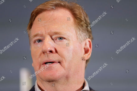 Commissioner of the NFL Roger Goodell, speaks during a news conference, in Miami after the Kansas City Chiefs win the NFL Super Bowl 54 football game