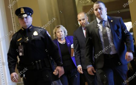 House impeachment managers Congresswoman Zoe Lofgren (2-L) Congressman Hakeem Jeffries (2-R) walks to the Senate chamber for the impeachment trial of US President Donald J. Trump in the US Capitol in Washington, DC, USA, 03 February 2020. The Senate convenes to hear closing arguments in the Senate impeachment trial, 03 February, and is expected to hold a vote to acquit or remove US President Donald J. Trump on the charges of abuse of power and obstruction of Congress, 05 February.