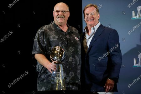 Kansas City Chiefs head coach Andy Reid (L) accepts the Vinve Lombardi Trophy from NFL Commissioner Roger Goodell (R) during a press conference for National Football League Super Bowl LIV in Miami, Florida, USA, 03 February 2020. The Kansas City Chiefs won the National Football League Super Bowl LIV against the San Francisco 49ers on 02 February 2020.