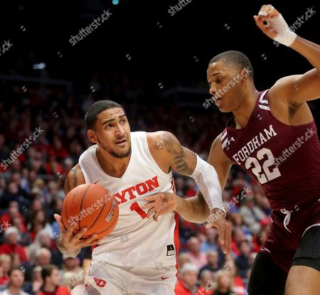 Obi Toppin, Joel Soriano. Dayton's Obi Toppin (1) drives to the basket against Fordham's Joel Soriano (22) during the first half of an NCAA college basketball game, in Dayton, Ohio