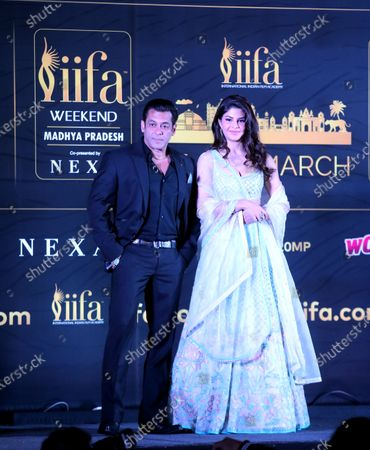 Salman Khan(L) and actress Jacqueline Fernandez attend the press conference of 21st International Indian Film Academy (IIFA) awards in Bhopal, India, 03 Feburary 2020. The IIFA awards are presented by the International Indian Film Academy every year to honour artistic and technical excellence of professionals in Bollywood.