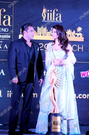 Stock Picture of Salman Khan(L) and actress Jacqueline Fernandez attend the press conference of 21st International Indian Film Academy (IIFA) awards in Bhopal, India, 03 Feburary 2020. The IIFA awards are presented by the International Indian Film Academy every year to honour artistic and technical excellence of professionals in Bollywood.