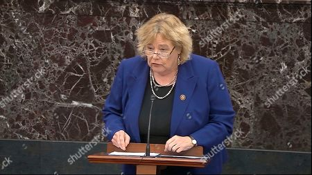 In this image from video, House impeachment manager Rep. Zoe Lofgren, D-Calif., speaks during closing arguments in the impeachment trial against President Donald Trump in the Senate at the U.S. Capitol in Washington