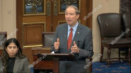 In this image from video, Sen. Tom Udall, D-N.M., speaks on the Senate floor about the impeachment trial against President Donald Trump at the U.S. Capitol in Washington, . The Senate will vote on the Articles of Impeachment on Wednesday afternoon