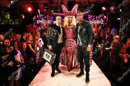 The son of Minister President of North Rhine-Westphalia, fashion blogger and influencer, Johannes Laschet (L), Irish actress, model and former Miss World 2003, Rosanna Davison (C) and American model Jeremy Meeks attend the Lambertz Monday Night at Alter Wartesaal in Cologne, Germany, 03 February 2020.