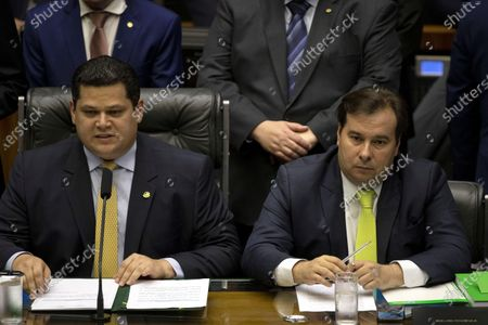 The president of the Upper House, Davi Alcolumbre (L), and the president of the Lower House, Rodrigo Maia (R), participate in a solemn joint session in the Brazilian Congress to inaugurate the 2nd. Legislative Session of the 56th. Legislature, in Brasilia, Brazil, 03 February 2020. The ceremony marks the resumption of the work of the Legislative Power after the parliamentary recess and the announcement of the objectives of the branches by 2020.