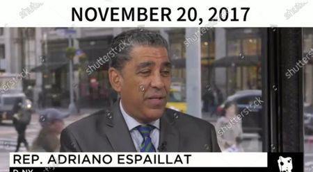 In this image from United States Senate television, this is a graphic displayed by counsel to the President Jay Sekulow to show that calls for the President's impeachment came even before he took office as he makes his closing argument during the impeachment trial of President Trump in the US Senate in the US Capitol. Pictured is US Representative Adriano Espaillat (Democrat of New York).