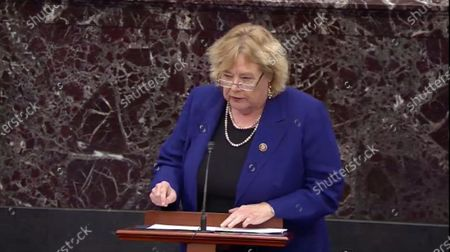 In this image from United States Senate television, US Representative Zoe Lofgren (Democrat of California) makes her closing argument during the impeachment trial of US President Trump in the US Senate in the US Capitol