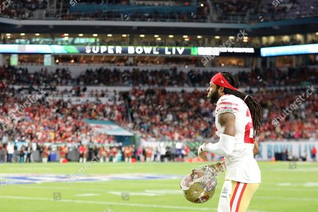 San Francisco 49ers cornerback Richard Sherman (25) walks onto the field to play defense against the Kansas City Chiefs during Super Bowl 54, in Miami Gardens, Fla. The Chiefs won the game 31-20