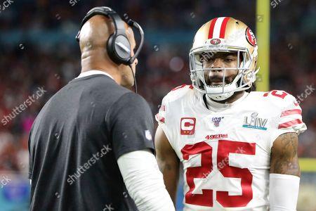 San Francisco 49ers cornerback Richard Sherman (25) talks with defensive coordinator Robert Salehagainst the Kansas City Chiefs during Super Bowl 54, in Miami Gardens, Fla. The Chiefs won the game 31-20