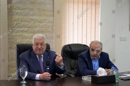Palestinian President Mahmoud Abbas visits General Intelligence Building, in the West Bank city of Ramallah