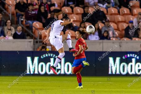 United States defender Ali Krieger (11) volleys the ball in the first half during the CONCACAF Group A Women's Olympic Qualifying match against the Costa Rica at BBVA Stadium in Houston, Texas