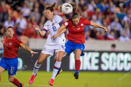 United States forward Carli Lloyd (10) and Costa Rica defender Fabiola Sanchez (5) battle for a header during the 2nd half of a CONCACAF Olympic Qualifying soccer match between Costa Rica and the United States of America at BBVA Stadium in Houston, TX. The United States won the game 6 to 0
